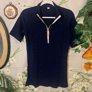 Vintage 70s quarter zip navy ribbed tee shirt